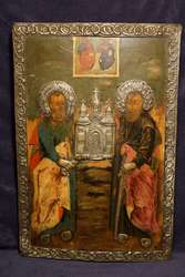 Икона с изображением свв. апостолов Петра и Павла. Россия,  XVIII век.
